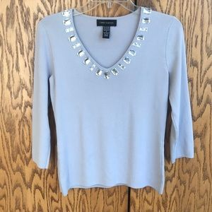 CABLE & GAUGE GRAY EMBELLISHED 3/4 SLEEVE TOP SM